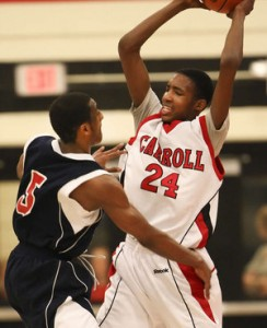 Derrick Jones, looking to pass against Octorara in last season's state playoffs, has drawn a lot of recruiting interest. STEVEN M. FALK / Staff Read more at http://www.philly.com/philly/blogs/rally/Derrick-Jones-lifts-Archbishop-Carroll-to-Chick-fil-A-title-game.html#FlI9b9zuz2VW24AZ.99