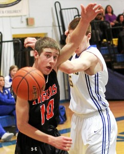 Marple Newtown's Nick Giordano and Springfield's Kevin McCormick lose control of a ball that goes out of bounds during Friday's Central League matchup. (Robert J. Gurecki)