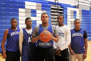 Academy Park's regular starting five of, from left, Terran Hamm, Travis Smith, Cyrie Spencer, Kaleb Tallafero, and Jawan Collins have the Knights playing a vastly improved brand of basketball this season that has them headed for a spot in the District One playoffs. (Robert J Gurecki)