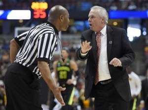 Wisconsin coach Bo Ryan argues with a referee during the first half against Baylor in the men's NCAA Tournament Thursday. The Chester native is trying to get his team to the Final Four for the first time. (AP Photo/Mark J. Terrill)