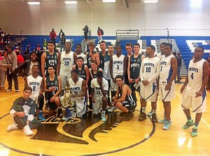 Members of Academy Park's basketball team pose with players from Trinity Grammar School, a team from Sydney, Australia, that played the Knights Dec. 12 as part of a three-week, 11-game tour of the United States. (Courtesy photo)