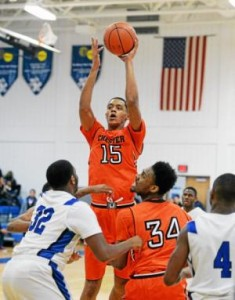 Chester's Marquis Collins, shooting over the Academy Park defense in a game last week, has a chance to lead his Clippers to a share of the Del Val title Thursday against Glen Mills. (Tom Kelly IV)