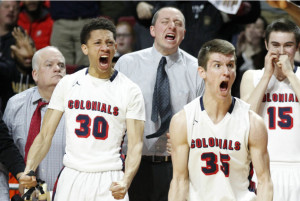 Davon Burrell, 2nd from left, and Mike Lotito #35, of Plymouth Whitemarsh celebrate after a made basket in the 4th quarter of their 68-57 vistory over Chester in the 1st half of a District 1 AAAA Final on Feb. 26, 2016, at Temple University's Liacouras Center. CHARLES FOX/Staff